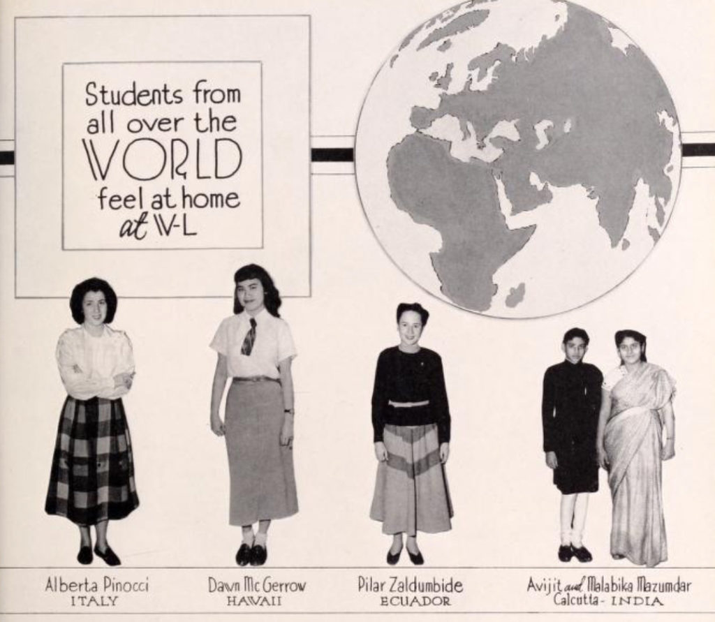 The 1949 yearbook dedicates a page to the school's international population.