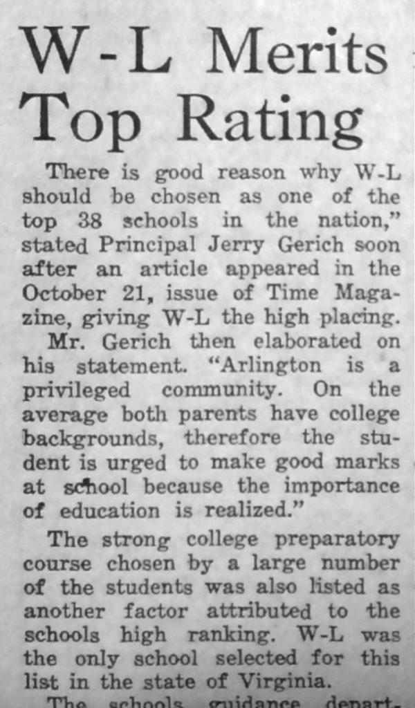 Washington-lee top high school in 1957 Crossed Sabres