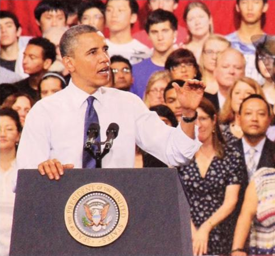 President Obama addresses W-L juniors, seniors, and their parents in W-L's Cempbell Gym.