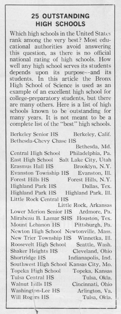 W-L was listed among the nation's elite high schools in 1963. (Ladies Home Journal)