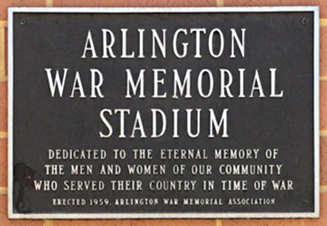W-L War Memorial Stadium plaque