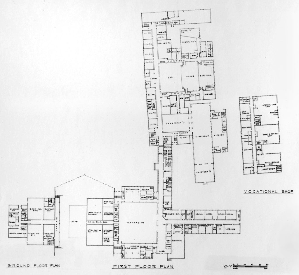 W-L floor plan showing the 1924 building with the 1932, 1941, and 1952 additions.