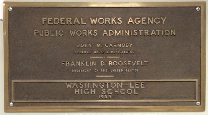 Washington-Lee PWA plaque