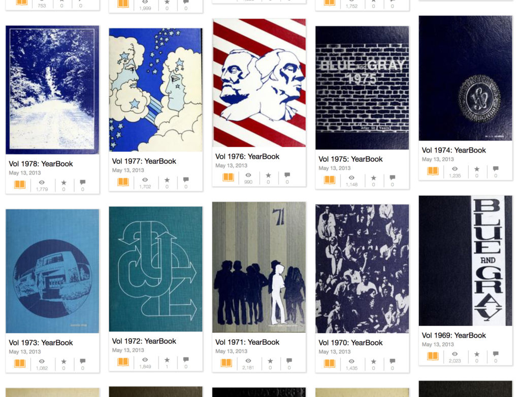 Blue and Gray yearbooks on the Internet Archive