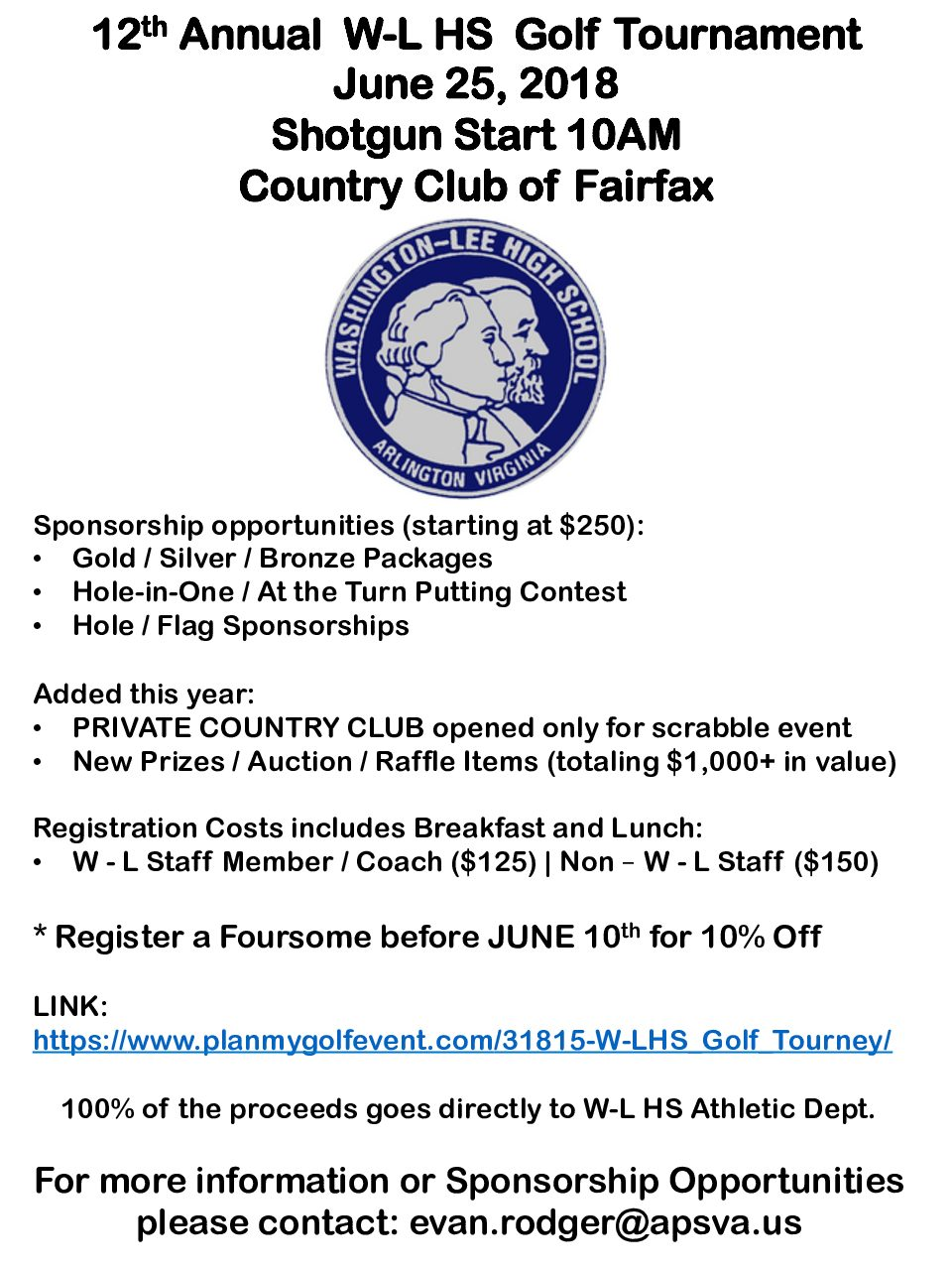 REGISTER NOW: 12th Annual W-L Golf Tournament Held at Country Club of Fairfax on June 25th